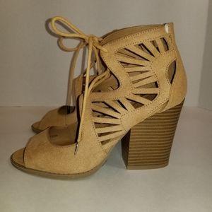 Charlotte Russe Laser Cut Lace-Up Open Toe Heels